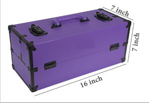 Modern Slim Trend Train Case Makeup Organizer with Brush Holder and Lock pictures & photos