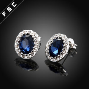 Women Wholesale Top Design Blue Big Stone White Gold Earring pictures & photos