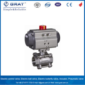 3 PC Structure Female Thread Ss304 Ball Valve with Pneumatic Valve Controller pictures & photos
