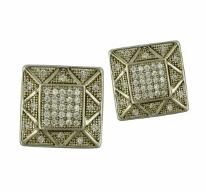 925 Sterling Silver CZ Inlay Geometry Earring Jewellery pictures & photos