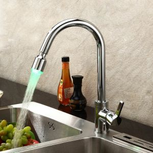 Pull out Chrome Brass Color Changing Water Powered LED Retractable Kitchen Taps Mixer pictures & photos