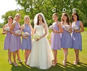 2017 Lavender Knee-Length Plus Size Convertible Wedding Bridesmaid Dresses pictures & photos