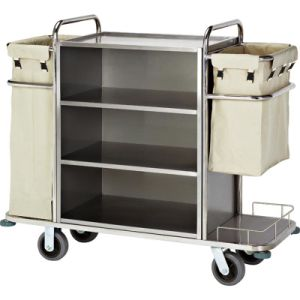Stainless Steel Housekeeping Trolley with Brushed Finish pictures & photos