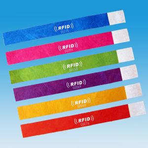 Disposable paper ticket 13.56MHz NTAG213 TYVEK NFC RFID bracelet pictures & photos