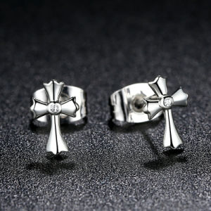 100% 925 Sterling Silver Classic Symbol of Faith Cross Stud Earrings pictures & photos