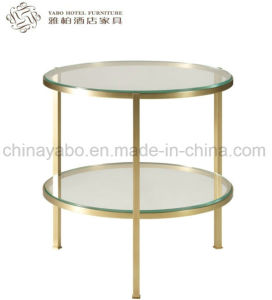 Hotel Side Table with Tempering Glass and Metal Frame pictures & photos