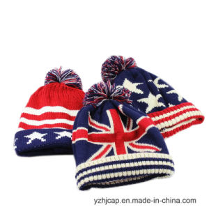 POM POM Beanie Hat Jacquard Knitted Hat pictures & photos