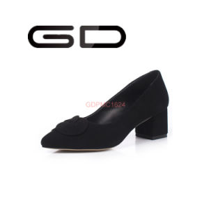 Lower Heel Chunky Shoes Suede Black Shoes pictures & photos