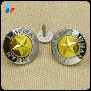 Custom Metal Jeans Button with Embossed Star Logo pictures & photos