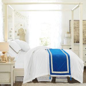 New Collection 100% Cotton Bed Sheet Set White Plain Bedding Set (WS-2016004)