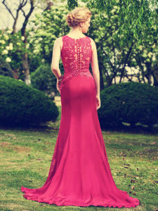 Scoop-Neck Appliques Sweep Train Burgendy Mermaid Bridesmaid Dress (Dream-100015) pictures & photos