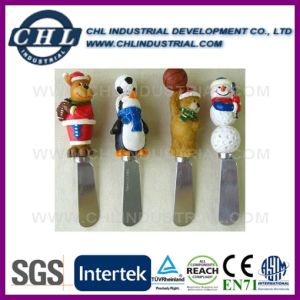 Wholesale Customized Logo Printed Resin Cutlery Set with Polyresin Head pictures & photos