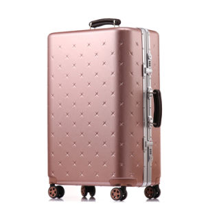 Rose Gold Color ABS Luggage and Trolley with Aluminium Frame pictures & photos