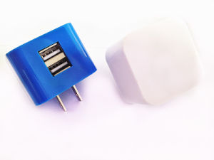 Dual USB Folding Plug Mobile Phone USB Travel Charger 5V 2.1A with Customized Colors pictures & photos