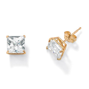 Gold Plated Classical Princess Cut AAA Cubic Zirconia Stud Earrings Available Size 3-10mm