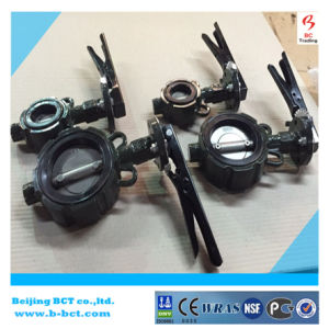 CASTING IRON BODY BUTTERFLY VALVE WITH HANDLE OR GEAR WORM BCT BCT-DKD71X-6 pictures & photos