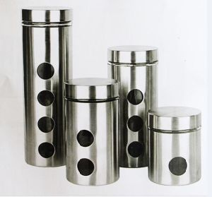 Stainless Steel Covered Glass Storage Canister Jar for Kitchen pictures & photos
