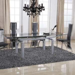 Stainless Steel Square Dining Room Glass Painted Table (ET64 & EC48)