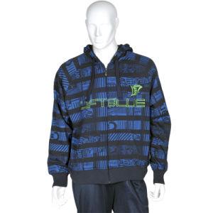 Custom Men′s Stripe Print Fleece Hooded Jacket pictures & photos