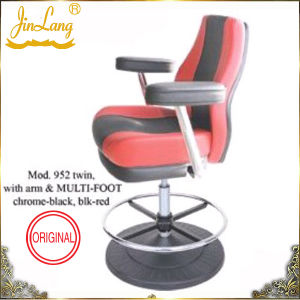 Bar Chair Mod. 952twin With Arm & Multi-Foot Chrome-Black, Blk-Red