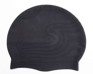 Wave Shape Silicone Swimming Cap with Custom Printing pictures & photos
