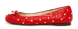 Nice Red Women Flats with Pots