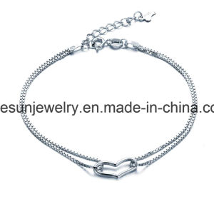 925 Silver Heart Bracelet/Anklet with Box Chain pictures & photos