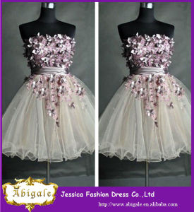2014 Charming A Line Sweetheart Applique and Ruffle Mini Fancy Girls Tulle Party Dresses (YC045) pictures & photos