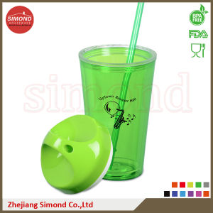 650ml BPA Free Plastic Acrylic Cup with Straw (TB-B501) pictures & photos