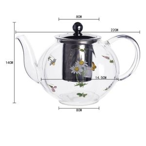 1250ml Heat Resistant Glass Teapot with Decorative Flower pictures & photos