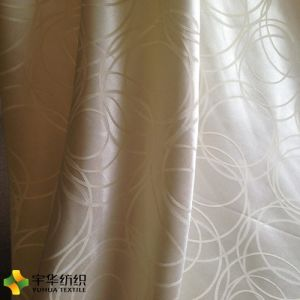 Yellow Big Jacquard Circle Blackout Curtain Fabric Home Textile