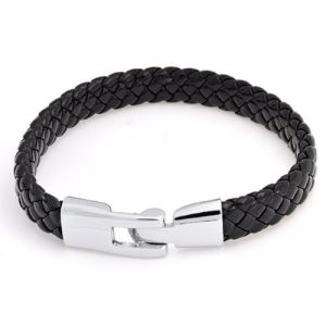 Jewelry Mens Black Braided Flat Leather Cord Bracelet