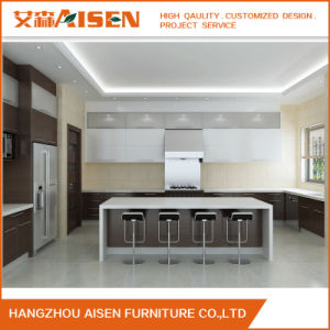 Handless Quartz Stone Countertop Lacquer Kitchen Cabinets with Island pictures & photos