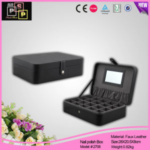 Black PU Leather Dividered Cufflink Box (2708) pictures & photos