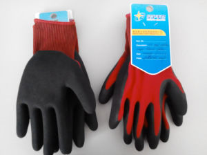 Polyester Shell Latex Coated Sandy Finish Safety Work Glove (L3401) pictures & photos