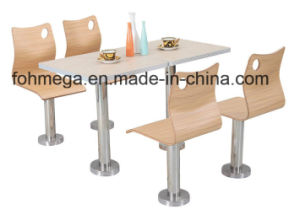 Fast Food Restaurant Dining Table Chair Set with Fixed Legs (FOH-BC04) pictures & photos