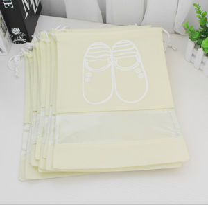 Household Travel Dust-Proof Shoe Organizer Non Woven Drawstring Bags with Transparent Window pictures & photos