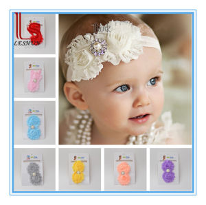 Baby Elastic Handmade Baby Christmas Lace Feather Headband with Flower pictures & photos