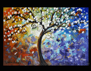 Abstract Landscape Tree Oil Painting (LA1-001) pictures & photos