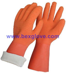 Cotton Jersey Liner, Latex Coating, Ripple Styled Crinkle Finish, 35cm Length Glove pictures & photos