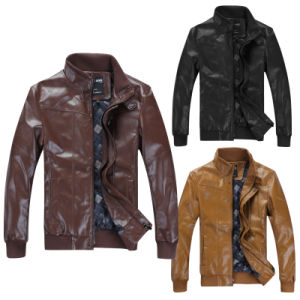 Men Printed Lining PU Leather Fashion Casual Jacket pictures & photos