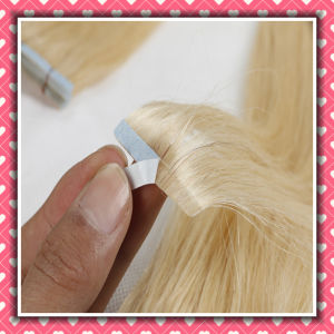 Wholesale Price Remy Hair Skin Weft Straight 18inch Color Blonde pictures & photos