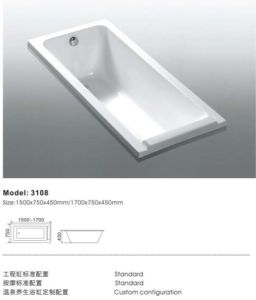 Deluxe Hot Selling Home Used Acrylic Bathtub pictures & photos