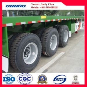 40ft Three-Axle Platform Trailer with Leaf Spring Suspension pictures & photos