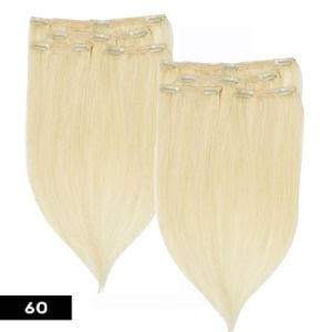 Lightest Blonde Color Clip in/on Human Hair Extension pictures & photos