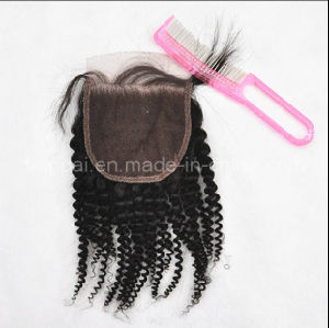 Kinky Curl Indian Human Top Closure Hair Extension