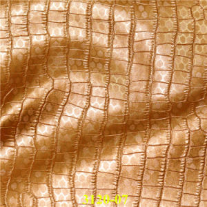 PU Faux Shoe Leather Fabric with Embossing Crocodile Pattern pictures & photos