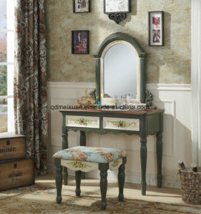 Combination of Dresser Small Bench Cosmetic Mirror Stool American Country Furniture Rural Mediterranean Hand-Painted (M-X3498) pictures & photos
