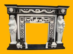 Black Marble Inlayed with White Marble Statuary Fireplace (FRP316) pictures & photos