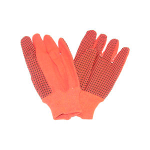 Orange Color Woven Cloth Garden Glove with Black PVC Dots